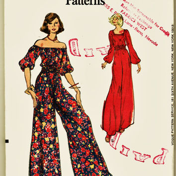 FABULOUS 70's Very EaSy Vogue Pattern 8605 Off Shoulder Hippie BoHo Jumpsuit Sz 16 Uncut FF OOAK Shirred Waist Perfection Sewing Pattern