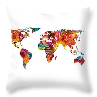 """Map of The World 2 -Colorful Abstract Art Throw Pillow 26"""" x 26"""""""