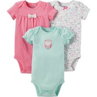 Child of Mine by Carter's Newborn Baby Girl 3 Pack Bodysuit - Walmart.com