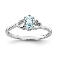 Sterling Silver Genuine Aquamarine March Birthstone Heart Ring