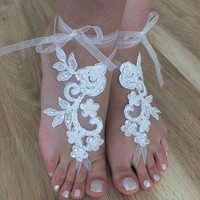 Free Ship --- bridal anklet, white flower, Beach wedding barefoot sandals, bangle, wedding anklet, anklet, bridal, wedding
