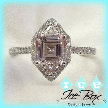 Morganite Engagement Ring 7mm, 1.5ct Asscher Cut Morganite in 14k Rose Gold Diamond Halo Setting