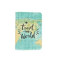 Travel The World Passport Holder - Novelty Leather Passport Cover - Vintage Passport Wallet - Travel Accessory Gift - Travel Wallet for Women and Men_LOKISHOP
