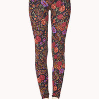 FOREVER 21 Boho Floral Leggings Navy/Multi Large