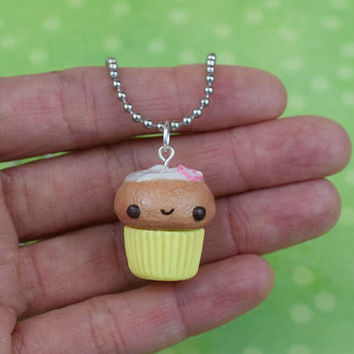 Cute Yellow Cupcake Necklace | Polymer Clay | Cute Kawaii | Charm | Miniature Sweet Food | Handmade Gift