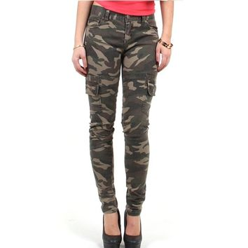 Red Fox Girls' Camo Skinny Cargo Pants Large Olive