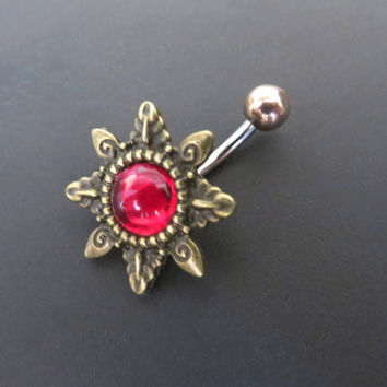 Crimson Red Gemstone Starburst Belly Button Ring