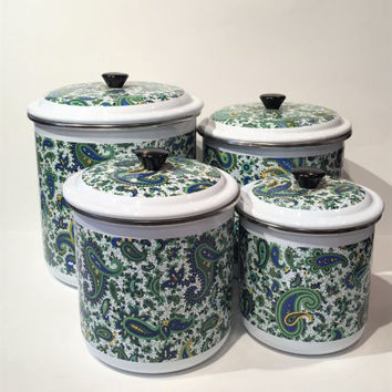 Kitchen Canisters, Vintage Paisley Metal Canister Set, Nesting Canisters, Blue and Green Canisters