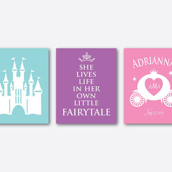 She lives life in her own little fairytale - Nursery Art - Princess Castle - Customizable - Monogram - Princess Crown - 8 x 10 print