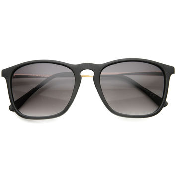 Vintage Inspired Indie Square Metal Temple Sunglasses 9838