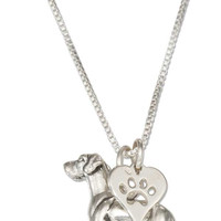 """STERLING SILVER 18"""" GREAT DANE NECKLACE WITH DOG PAW PRINT HEART PENDANT"""