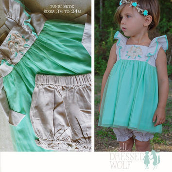 Well Dressed Wolf-M2M Mint Magnolia boutique halo-couture hair accessory-mint, cream-photo prop-newborn-girls sizes-adult-spring and summer