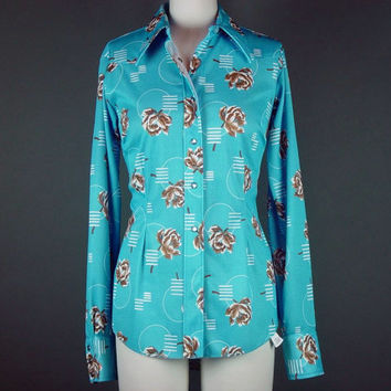 70s Western Blouse Shirt Top H Bar C Ranchwear Rodeo Cowgirl Vintage 1970s Snap Blue Floral Polyester 36 Long Tail M