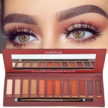 Newest Women Eyeshadow Palette 12 Colors Matte Shimmer Eyeshadow Makeup Warm Brown Red Smoky Eyes Cosmetics Kits 3828