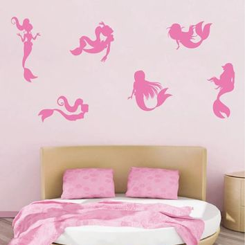 ik1943 Wall Decal Sticker set sea mermaid sea kids room