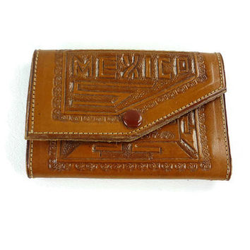 Vintage Tooled Leather Key Wallet Holder Souvenir from Mexico 1970s