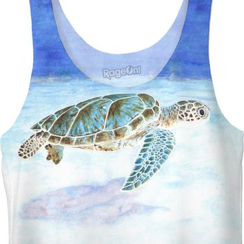Sea turtle underwater Crop Top