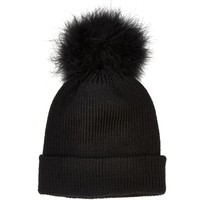 Black giant pom pom beanie hat - hats - accessories - women