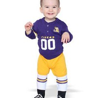 Licensed LSU Tigers Official NCAA Footysuit Louisiana State by Glitter Gear KO_19_1