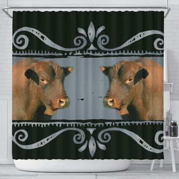 Amazing Senepol Cattle (Cow) Print Shower Curtain-Free Shipping