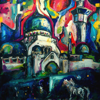 An Original Acrylic Impressionistic Hungarian Budapest Landscape Painting on Mirror by Kelli Gedvil! 100 x 70 cm (39,4 x 27,6 inches)