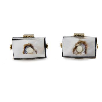 Vintage Swank Cufflinks Lucite, Oyster Shell & Pearl