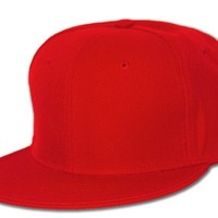 Plain Fitted Flat Bill Hat, Solid and Neon Colors Available, Red 7
