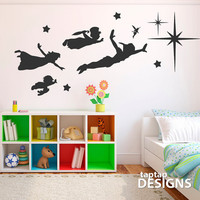 Peter Pan Scene Full Wall Decal Sticker SKU0171 by taptapdesigns