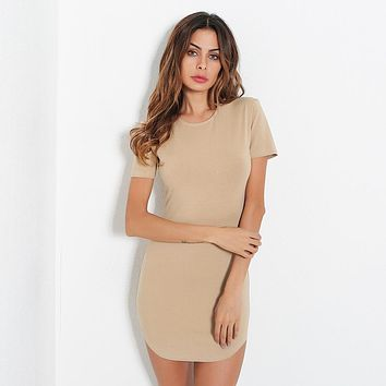Solid Color Simple Round Neck Short Sleeve Bodycon Irregular Mini Dress
