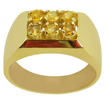 0.36 CTTW Genuine Citrine 10K Yellow Gold Plated Beautiful and Stylish Ring in Sterling Silver