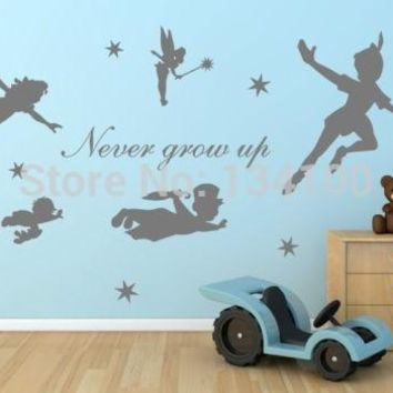 Peter Pan Never grow up  tinker bell removable wall stickers for kids home decoration