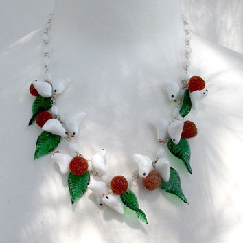 Murano glass bird necklace. Little white glass birds, green leaves and sparkly red berries.