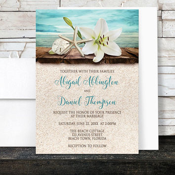 Beach Wedding Invitations and RSVP - Lily Seashells Sand - Beige Teal Rustic Wood Dock Tropical Destination Seaside Wedding - Printed