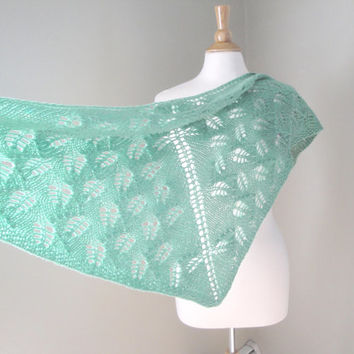 Pure Cashmere Shawl, Hand Knit, Mint Green, Leaf Lace Design, Shawl Wrap, Prayer Shawl, Wedding Shawl
