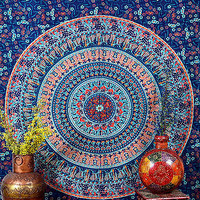 Blue Orange Color Print Tapestry Indian Wall Hanging Cotton Tapestry TIUK SBS084