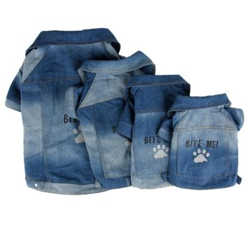 Trendy Denim Clothes For Pet Dog Puppy Paw Print T-shirt Clothing Jean Fabric Coat Jacket Bite Me Apparel Costume Wear Free Shipping AT_94_13