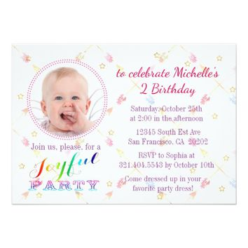 Cute Photo Watercolor Birthday Party Invitation