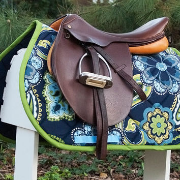 Ready to Ship - Navy Blue and Green Large Flowers Close Contact Saddle Pad