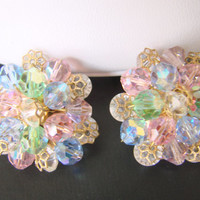 Vintage Mid Century Aurora Borealis Crystal Cluster Filigree Clip Earrings / 1950s 1960s / Pastel Blue Pink Green / Jewelry / Jewellery