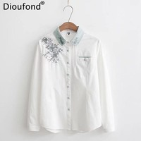 Dioufond Flower Embroidery Blouse Women Casual Cotton White Blouse Shirt Fashion Long Sleeve Blouse Loose Women Tops 2017 New