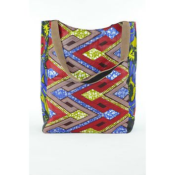 African Print Shopper Bag -Blue /Red Geo/floral Print