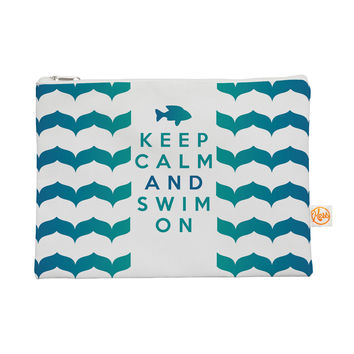 "Nick Atkinson ""Keep Calm and Swim On"" Teal White Everything Bag"