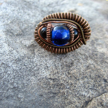 wire wrapped ring, size 8 copper wire wrap ring with blue glass beads, wire ring, copper hippie ring,  copper jewelry