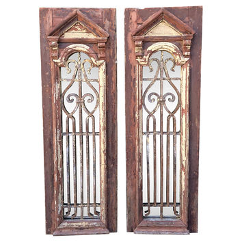 Wood & Iron Painted Mirrors, Pair