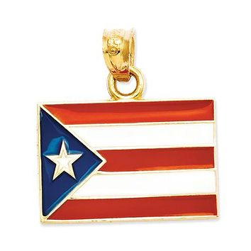 14K Yellow Gold Country Flag Travel Necklace Charms