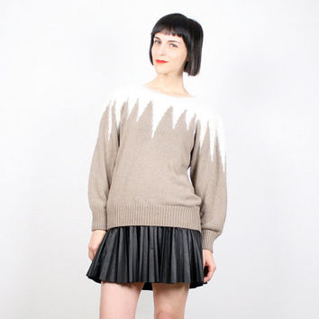 Vintage 80s Sweater Tan Ivory Jumper Pullover Angora Sweater Slouch Fit 1980s 80s Cosby Sweater New Wave Chevron Striped Icicle M Medium L