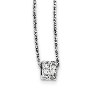 Sterling Silver CZ Barrel Bead 2 Strand D/C W/2IN EXT Necklace QG3906