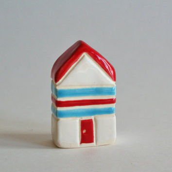 MOTHERS DAY SALE little clay house red aqua blue white striped miniature ceramic pottery home cottage