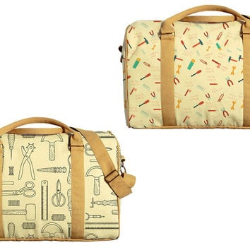 Tools Pattern Printed Oversized Canvas Duffle Luggage Travel Bag WAS_42