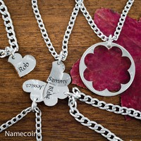 Name Heart Necklaces, 5 Piece, Custom engraved names